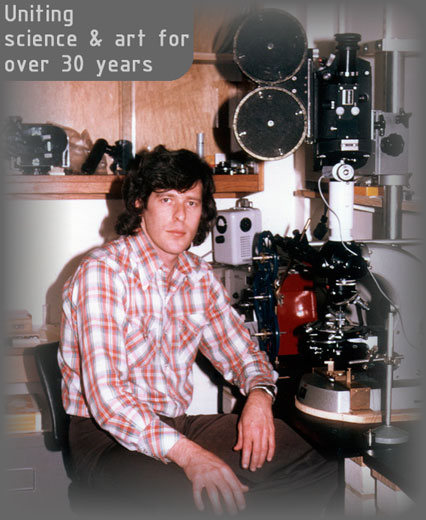 Dr. Gary Greenberg in 1977 with microscope and panavision camera
